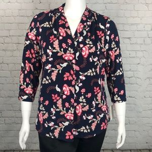Charter Club Navy & Pink Floral V Neck Top Size 1X